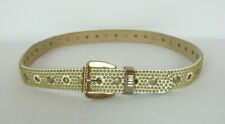 Vtg 1980s - 1990s Sand Castle Leather Studded Belt White Gold Floral Medallions