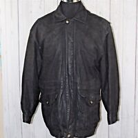 Pelle Sport Large 100% Leather Plaid Lining Black Snap Buttons Heavy Coat Jacket