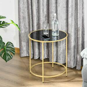 HOMCOM Round Side Table w/ Tempered Glass Tabletop, for Living Room, Bedroom