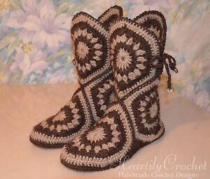 handmade women crochet slippers, knitted wool socks, slipper boots, house shoes