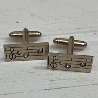 Musical Note Cufflinks Treble Clef Music Score Rhinestone Gold Tone Mens Gift
