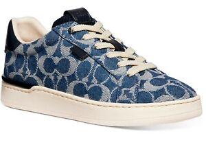 Coach $150 Lowline Sneakers Size 7 Denim ● Designer Low Top J-LO Campaign