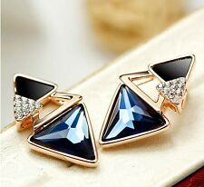 Rose Gold Plated Blue Austrian Crystal Triangle Stud Earrings for Women