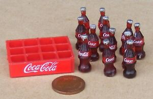 12 Loose Coke Bottles In A Plastic Crate Tumdee 1:12 Scale Dolls House Coca Cola