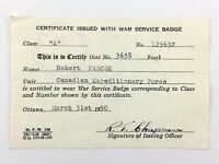 WWII 1950 Canadian Expeditionary Force Certificate War Service Badge Canada U085