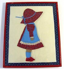 "Framed Quilting Block - ""Hollie Hobbie"" in a flowered Dress and Bonnet"