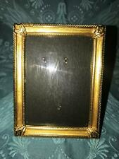 "Vtg gold metal emboss frame 3.25x4.25"" intricate detail convex glass corner caps"