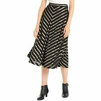 Alfani Women's Pleated Metallic-Stripe Midi Skirt, Black, Size 10, $90, NwT