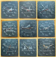 More details for dreckly slate clock - etched in cornwall cornish gift - various designs