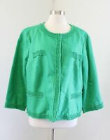 NWT Talbots Green Frayed Fringe Trim Linen Collarless Blazer Jacket Size 20