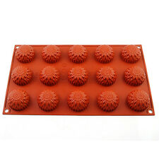 Food-Grade Silicone Soft Flower 15 Cupcake Pudding Mold Chocolate Pan Bakeware