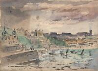 CAPTAIN JOHN HENRY HOWARD RN Watercolour Painting SCARBOROUGH COASTLINE c1890's