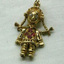 Pretty 9 carat Gold And Gem Set Rag Doll Pendant