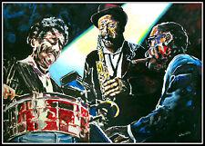 Jazz Band Kunstdruck von Volker Welz signiert Klavier Piano Alt Bariton Saxophon