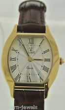 """Vicence"" Milor 14kt YG Swiss Quartz Brown Leather Strap Oval Ladies Watch"