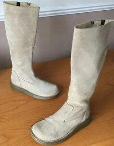 Vintage Dr Martens Elena beige suede leather calf boots UK 3 EU 36