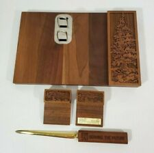 Vtg Lasercraft Engraving Solid American Walnut Office Desk Table Organize Set