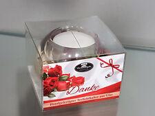 Geschenk Teelichthalter Danke aus Glas Dreamlight Rose rot Deko Kerze edel Blume