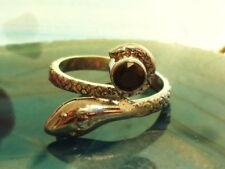 Anillo serpiente de plata esterlina 925 y Cola Alrededor PIEDRA ÓNIX NEGRO