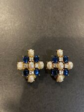 Nolan Miller Glamour Collection Earrings Maltese Pearl Blue Cabs Rhinestones