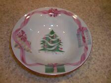 "2 Sango Home for Christmas Soup Bowls 7 1/4"" Christmas Tree Center Pink"