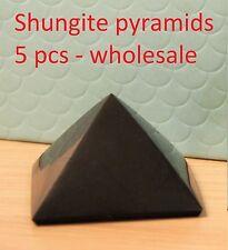 Shungite Pyramid Protection Set 5 pieces against EMF Grounding Stone  S073