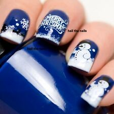 Nail WRAPS Nail Art Water Transfers Decals Christmas Trees Snowmen Y142