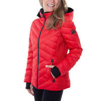 Nautica Women's Water Resistant Hooded Jacket, Red Small - NEW
