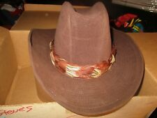 Brown ARTEL COWBOY HAT With Woven Feather Size 7 In Bailey Box N.Mint Condition