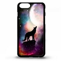 Wolf howling at the full moon wolves stars animal graphic art phone case cover
