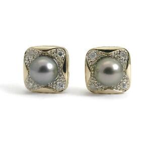 Vintage Black Pearl Diamond Stud Earrings in 14K Yellow Gold, 14 mm, 7.18 Grams