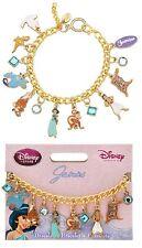 """Disney Store PRINCESS JASMINE 9 CHARM BRACELET 7"""" Aladdin Abu Genie Broadway NIB"""