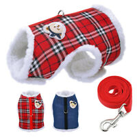 Fleece Winter Pet Cat Dog Harness Vest and Leash Thick Padded Dog Vest Clothes