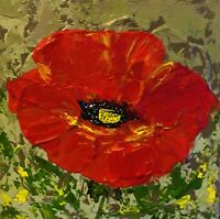 ORIGINAL RED POPPY FLORAL 10X10 CANVAS ACRYLIC PAINTING ARTIST SIGNED, FREE SHIP