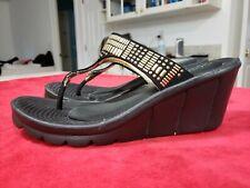 Skechers Black Studded Wedge Heel Thong Slide Sandals Size 7 Excellent Condition