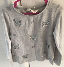 Girls Grey Long Sleeved Top Silver Butterfly Glitter & Sequin Detail Age 4-5
