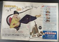 Original Print Ad 1947 2 Page EUREKA Cleaning System Vacuum Lady of Leisure