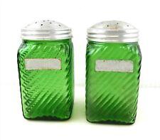 "Owens Illinois Green Glass Salt & Pepper Shakers 4"" Original Labels  T26"