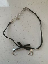 Dior Leather Black bow C D spell Out Choker Vintage Used Without Box