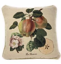 DaDa Bedding Apples Fruits Floral Beige Square Accent Pillow Cushion Cover Cover