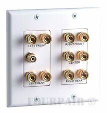 5.1 Surround Home Theater Speaker Wall Plate Banana Binding Post 2-Gang White