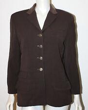 RALPH LAUREN Brown Wool Blazer Jacket Leather Collar Horse Buttons 10