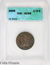 1828 1/2c 12 Stars Half Cent ICG AU 55 About UNC KEY Draped Bust Type Coin RARE