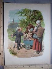 Rare Antique Orig VTG 1893 Children Wagon Eugen Klimsch Color Litho Art Print