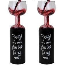 ( Set of 2 ) Ultimate Wine HALF GLASS-HALF BOTTLE - Amazing! kitchen bar room