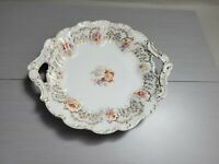 Antique CARL TIELISCH Flowered Porcelain Serving Bowl Eagle Mark Germany11.5'' w