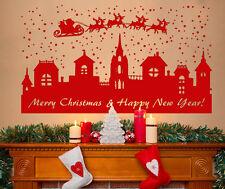 XL Merry Christmas Santa Sleigh Snow Scene Decoration Wall Art Decal Sticker