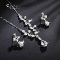 18K White Gold Filled Clear Crystal Flower Teardrop Partying Wedding Formal Set