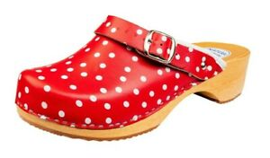 Women's Fashion Clogs Red White Spotty Polka Dots Slip On Leather Shoe Mules 3-8