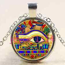 Vintage Egypt Horus Cabochon Tibetan silver Glass Chain Pendant Necklace #1929